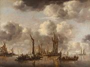 Jan van de Capelle Shipping Scene with a Dutch Yacht Firing a Salut (mk08)