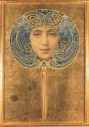 Louis Welden Hawkins Mask,Symbolist portrait in the form of a fan (mk19) oil painting picture wholesale