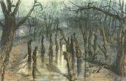 Stanislaw Ignacy Witkiewicz The Planty Park by Night-Straw-Men (mk19) oil painting artist