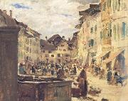 Albert Anker Market in Murten (nn02) oil painting