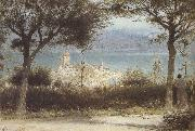 Albert goodwin,r.w.s The Town of Spiez on Lake Thun,Switzerland (mk37) oil painting
