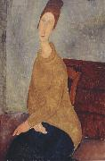 Amedeo Modigliani Jeanne Hebuterne with Yellow Sweater (mk39) oil painting reproduction