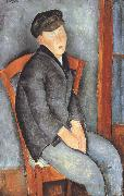 Amedeo Modigliani Young Seated Boy with Cap (mk39) oil painting reproduction