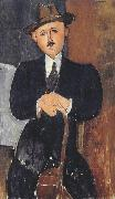 Amedeo Modigliani Seated Man with a Cane (mk39) oil painting reproduction
