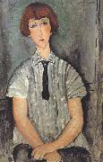Amedeo Modigliani Young Woman in a Striped Blouse (mk39) oil painting on canvas