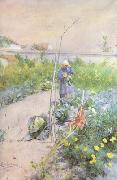 Carl Larsson In the Kitchen Garden (nn2 oil painting reproduction
