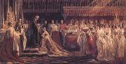 Charles Robert Leslie Queen Victoria Receiving the Sacrament at her Coronation 28 June 1838 (mk25) oil painting reproduction