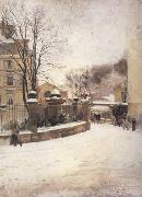 Edouard Castres Snowed up Street in Paris (nn02) oil painting