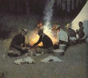 Frederic Remington The Hunter's Supper (mk43) oil painting reproduction