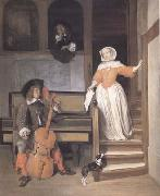 Gabriel Metsu The Cello Player (mk25) oil painting reproduction