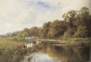Henry h.parker Cattle watering on a Riverbank (mk37) oil painting