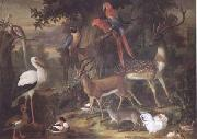 Birds and deer in a Garden (mk25)