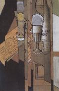 Juan Gris Glasses Newspaper and a Bottle of Wine (nn03) oil painting