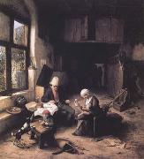 Ostade, Adriaen van Interior of a Peasant's Cottage (mk25 oil painting picture wholesale