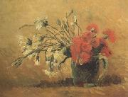 Vase with Red and White Carnations on Yellow Background (nn04)