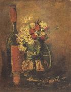 Vase with Carnation and Roses and a Bottle (nn04)
