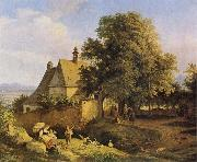 Adrian Ludwig Richter Church at Graupen in Bohemia oil painting reproduction