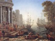 Claude Lorrain Seaport with the embarkation of Saint Ursula oil painting reproduction
