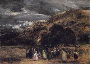 David Cox A Welsh Funeral oil painting