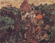 Egon Schiele Krumau Landscape oil painting on canvas