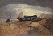 John sell cotman Seashore with Boats oil painting