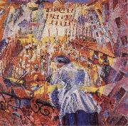 Umberto Boccioni The Noise of the Street Enters the House oil painting artist