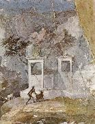 Wall painting a pastoral scene in the romantic style,from pompeii