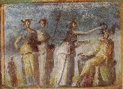 Wall painting from Herculaneum showing in highly impres sionistic style the bringing of offerings to Dionysus