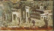 Wall painting houses at noon from Pompeii