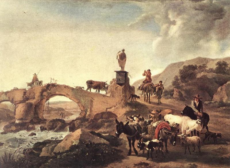 BERCHEM, Nicolaes Italian Landscape with Bridge  ddd