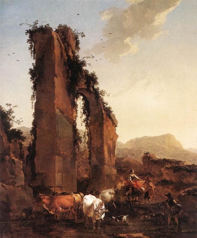 BERCHEM, Nicolaes Peasants with Cattle by a Ruined Aqueduct
