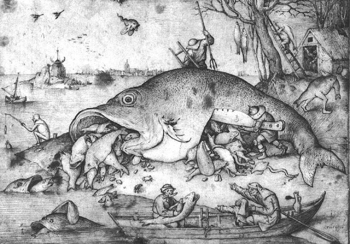BRUEGEL, Pieter the Elder Big Fishes Eat Little Fishes g China oil painting art