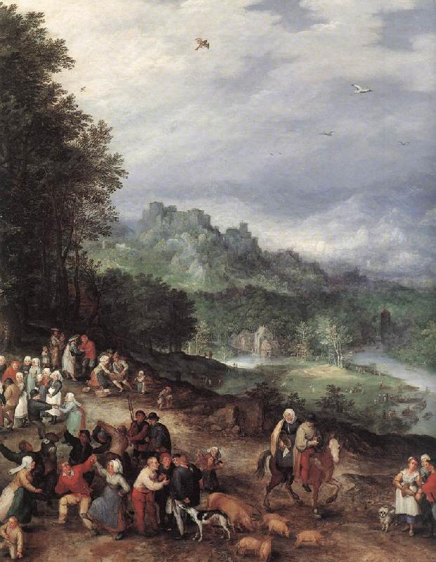 BRUEGHEL, Jan the Elder A Flemsh Fair (detail) f oil painting picture