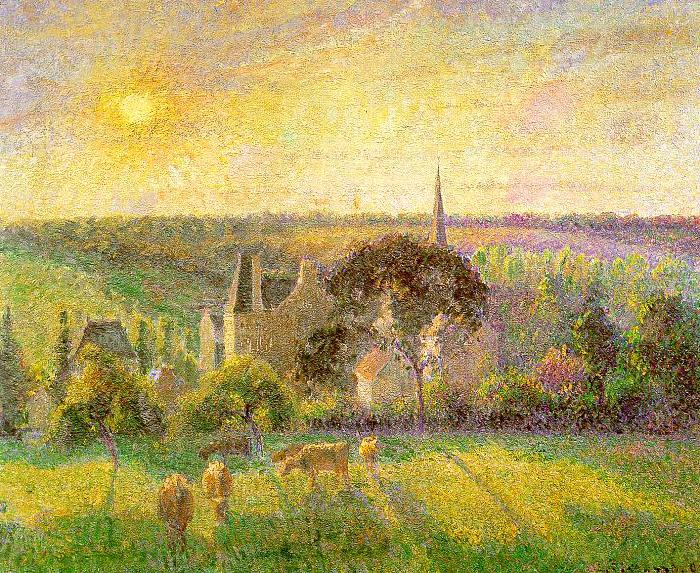 Camille Pissaro Countryside and Eragny Church and Farm China oil painting art
