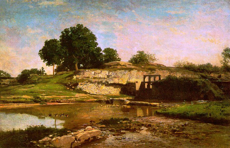 Charles Francois Daubigny The Flood Gate at Optevoz oil painting picture