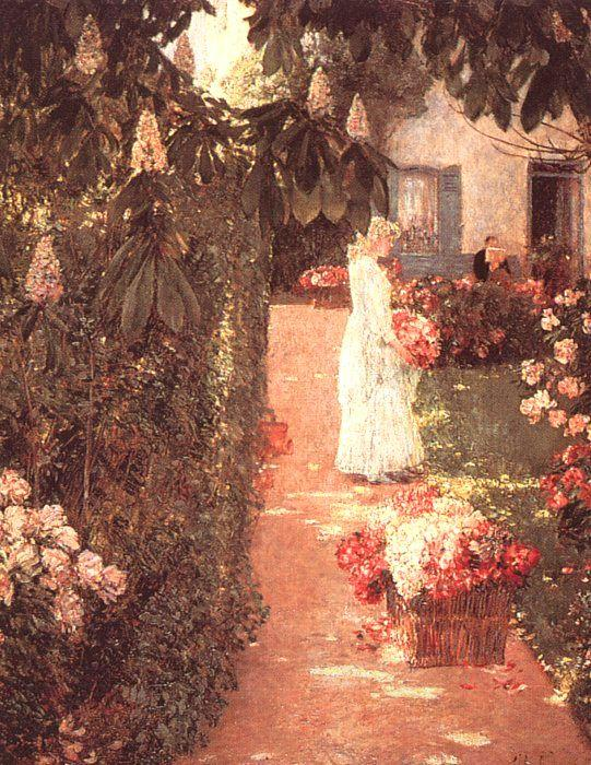 Childe Hassam Gathering Flowers in a French Garden oil painting picture