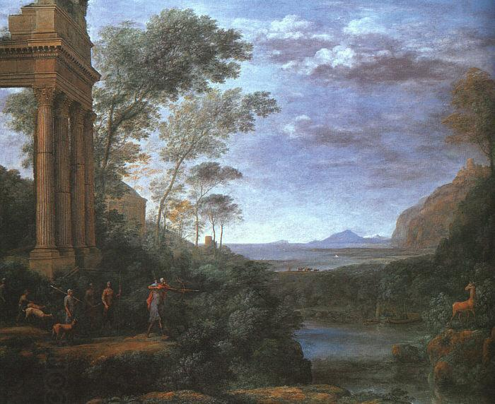 Claude Lorrain Landscape with Ascanius Shooting the Stag of Silvia