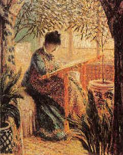 Claude Monet Camille Monet Embroidering