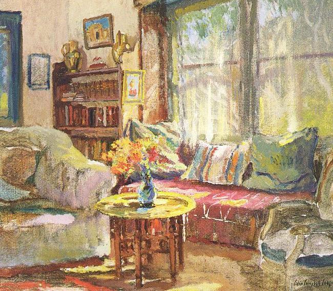 Colin Campbell Cooper Cottage Intérieur peinture à l'huile d'image