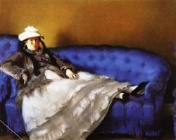 Edouard Manet Portrait of Mme Manet on a Blue Sofa
