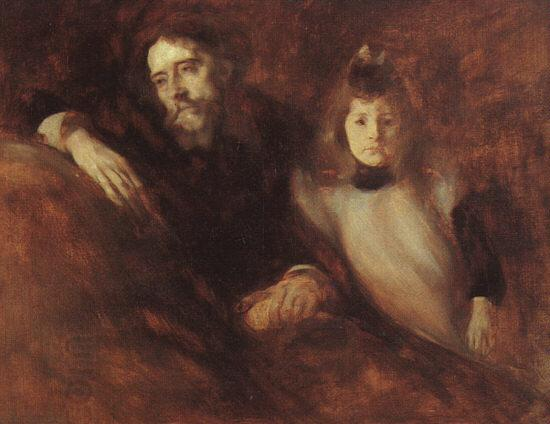 Eugene Carriere Alphonse Daudet and his Daughter