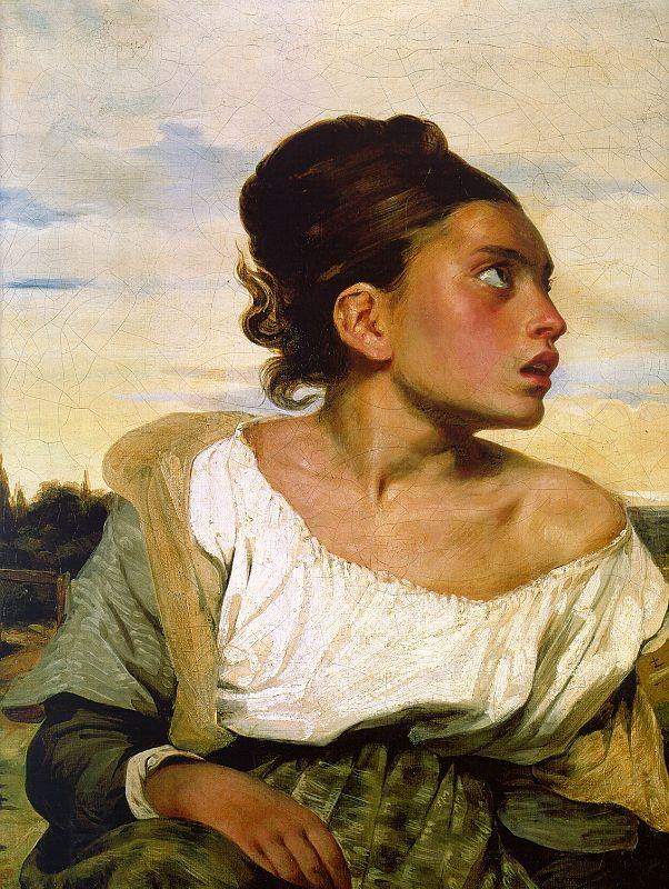 Eugene Delacroix Girl Seated in a Cemetery
