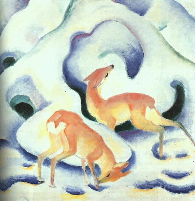 Franz Marc Deer in the Snow oil painting picture