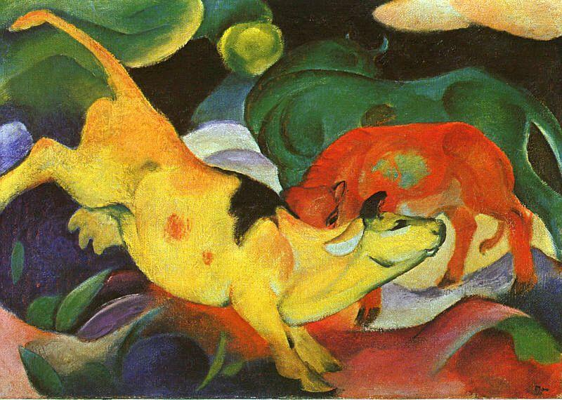 Franz Marc Cows, Yellow, Red, Green oil painting picture