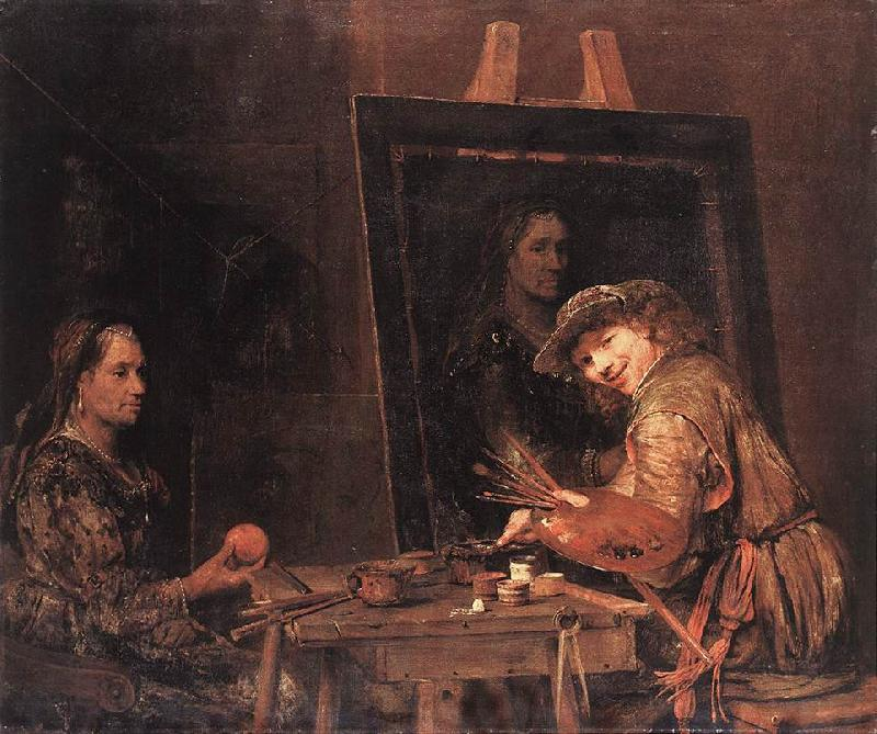GELDER, Aert de Self-Portrait at an Easel Painting an Old Woman  sgh oil painting picture