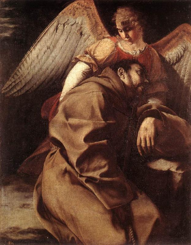 GENTILESCHI, Orazio St Francis Supported by an Angel sdgh