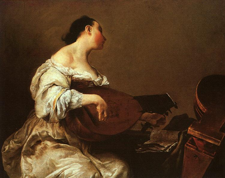 Giuseppe Maria Crespi Woman Playing a Lute