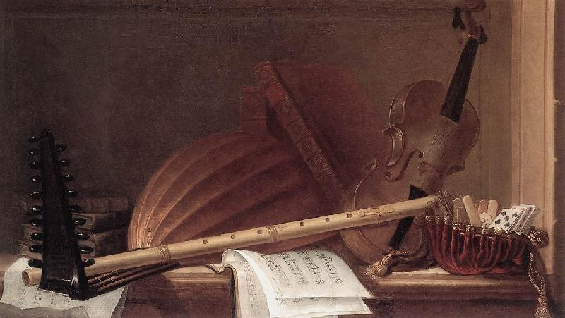 HUILLIOT, Pierre Nicolas Still-Life of Musical Instruments sf
