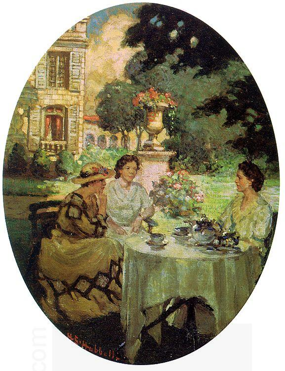 Henry Salem Hubble Tea in the Garden at the Chateau de Rozieres China oil painting art