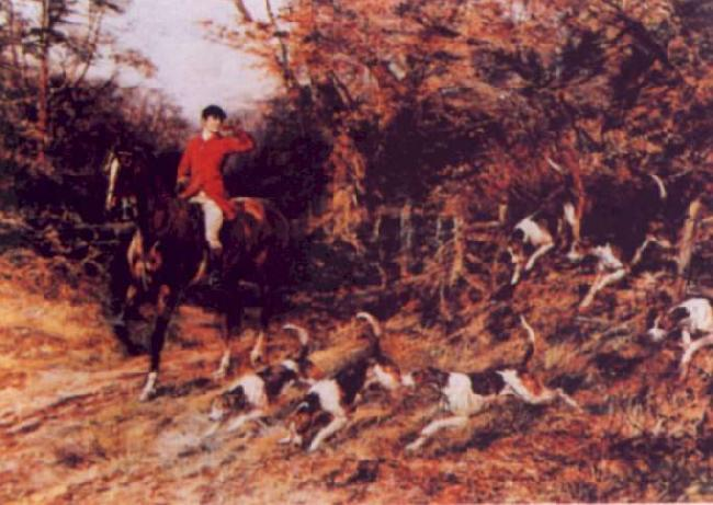 Heywood Hardy Calling the Hounds Out of Cover oil painting picture